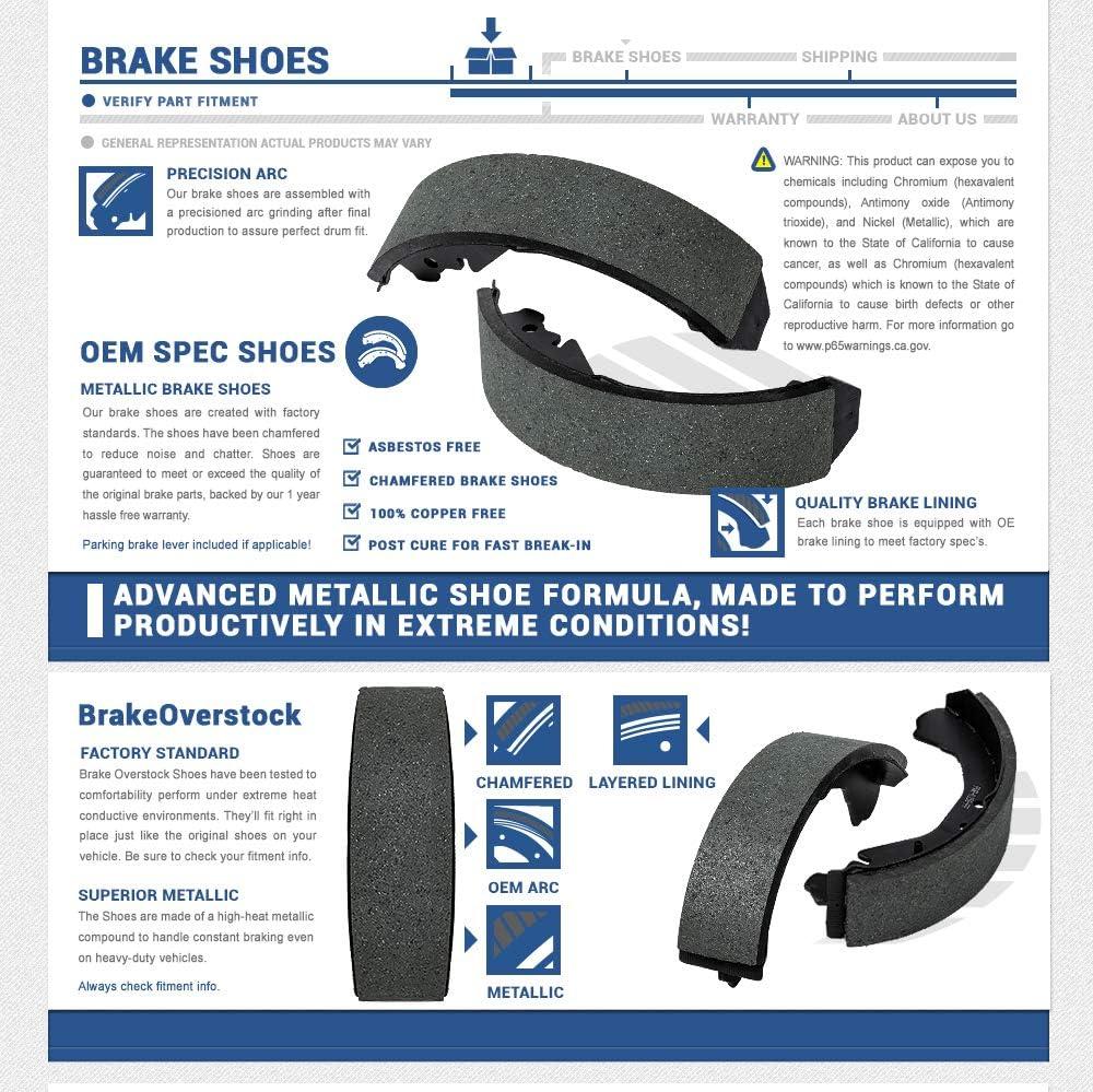 CSK01176 REAR Premium Advanced Metallic Formula Chamfered DRUM Brake Shoes