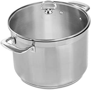 Chantal SLIN33-240 Induction 21 Steel Stockpot with Glass Tempered Lid (8-Quart)