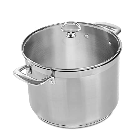 Chantal SLIN33-240 Induction 21 Steel Stockpot with Glass Tempered Lid 8-Quart