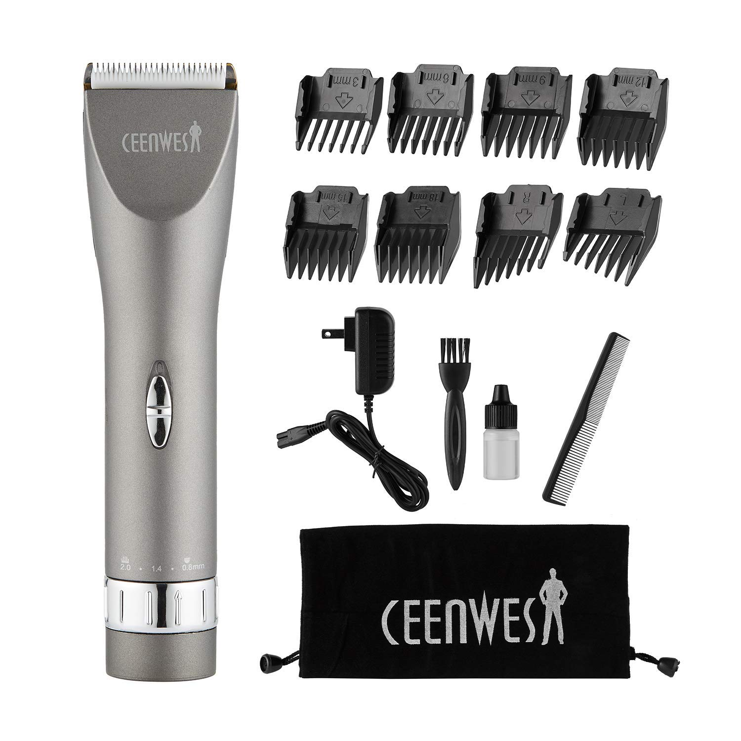 CEENWES Updated Version Professional Hair Clippers Cordless Haircut Kit Rechargeable Hair Trimmer Haircut Grooming kit with 8 Combs & Carrying Bag for Men/Father/Husband/Boyfriend