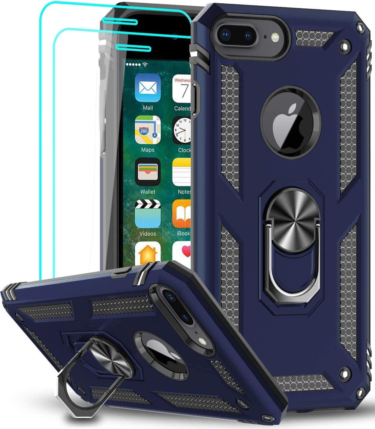 iPhone 8 Plus Case, iPhone 7 Plus Case, iPhone 6 Plus Case with Tempered Glass Screen Protector [2Pack], LeYi Military Grade Phone Case with Rotating Holder Kickstand for iPhone 6s Plus, Blue