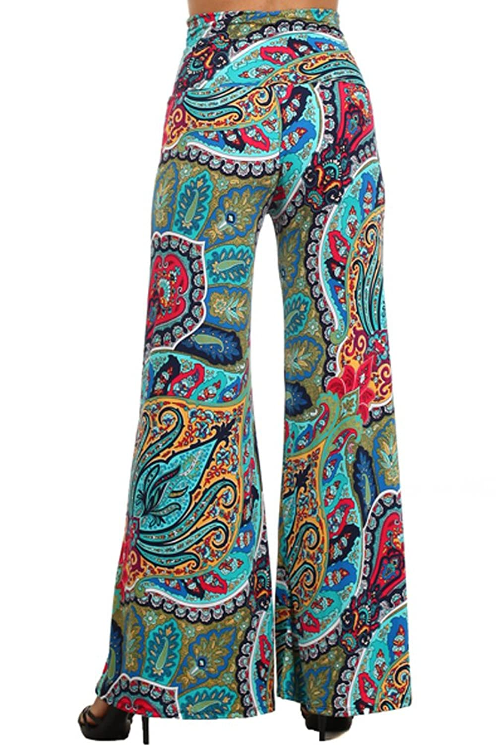 (Plus Size) Womens Paisley Print High Waist Palazzo Pants (Made in U.S.A)