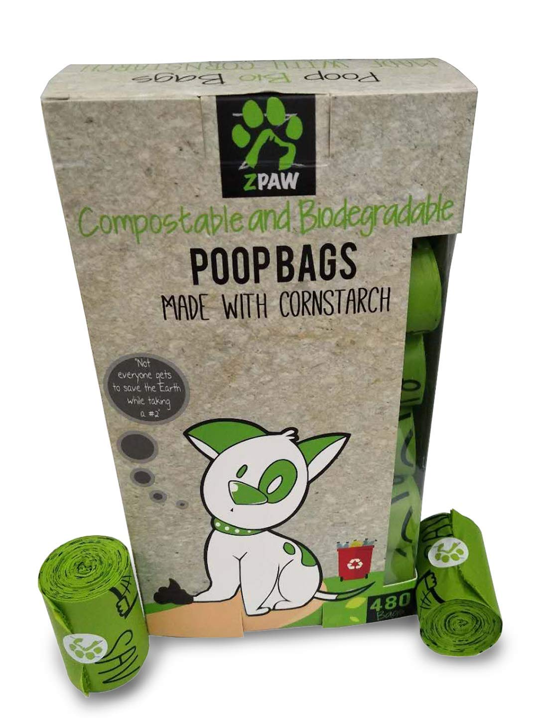 ZPAW Compostable and Biodegradable Dog Poop Bags Made with Corn Starch   Large Environmentally Friendly Dog Waste Bags Certified 100% Compostable and Biodegradable (480 Pet Waste Bags) by ZPAW