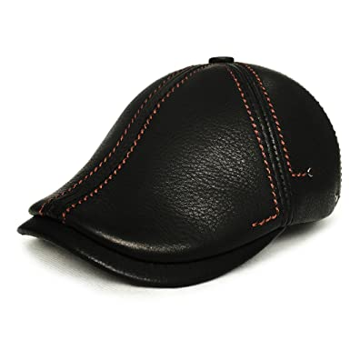 83f9efcd3244f lethmik Flat newsboy Cap Cowhide Leather IVY Cabbie Hat Hunting Driving Cap  Black-S