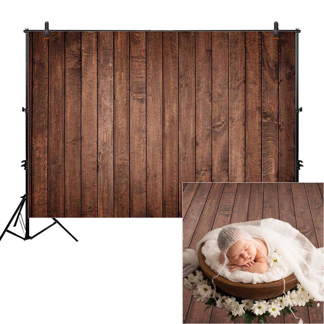 Allenjoy 7x5ft Fabric Vintage Brown Wood Backdrops for Newborn Photography Wrinkle Free Rustic Russet Grunge Wooden Floor Planks Wall Baby Portrait Still Life Product Photographer Photo Studio Props by Allenjoy (Image #1)