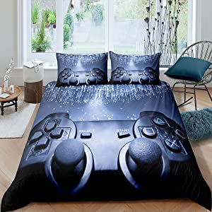 Gamepad Bedding Set Boys Game Console Pattern Duvet Cover Vintage Videogame Controller Printed Decor Comforter Cover Set With Zipper Ties,1 Duvet Cover With 1 Pillow Case, Twin Size,Silver Black