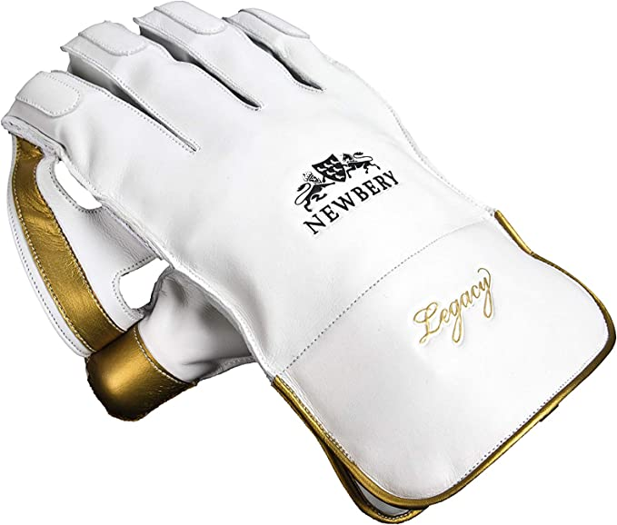 Small Senior Newbery Cricket Unisex-Youth Legacy Wicket Keeping Gloves White//Gold