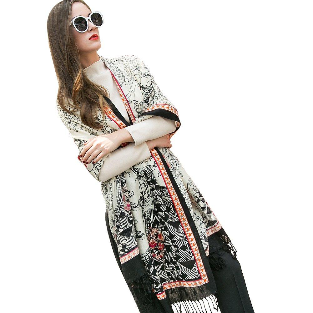 DANA XU 100% Pure Wool Women Winter Large Size Pashmina Travel Shawl (White)