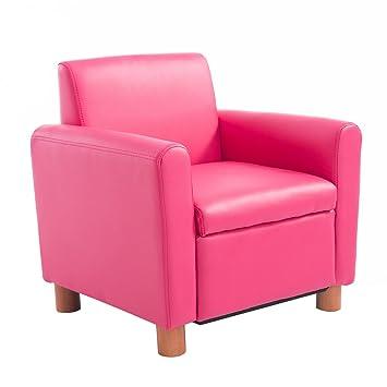 Qaba 20u201d Kids PU Leather Storage Chair   Pink