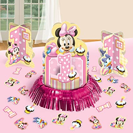 Amazon Com Disney Minnie 1st Birthday Value Table Decorating Kit