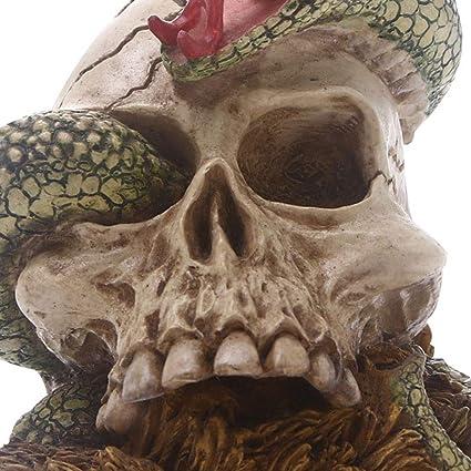 Amosfun Ornamento de Mesa Modelo de Calavera de Resina Suministros de Fiesta de decoraci/ón para el hogar de Halloween