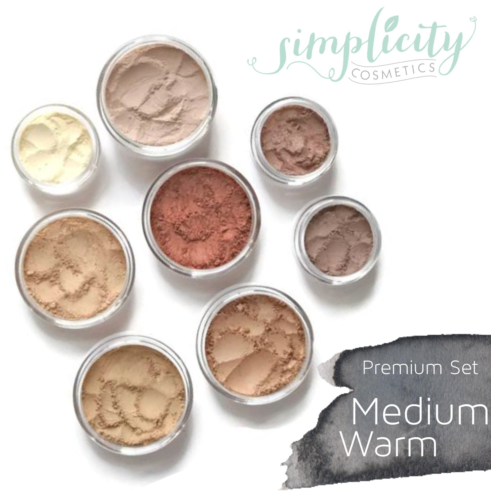 Mineral Makeup Premium Set - Medium Warm | Blush | Foundation | Sheer Powder | Eyeshadow | Bronzer | Under Eye Concealer | Starter Set