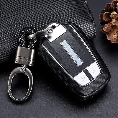 Royalfox(TM) Soft Black Silicone Carbon Fiber Style Smart keyless Remote Key Fob case Cover for Isuzu MUX MU-X D-MAX DMAX Keychain (for Isuzu Smart Key fob) [5Bkhe0110559]