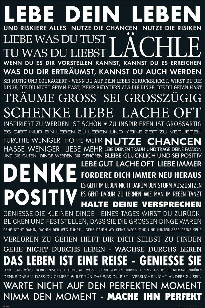 Amazon.de: Motivational - Lebe Dein Leben - schwarz Zitate Sprüche ...