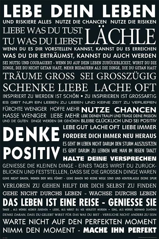 Motivational   Lebe Dein Leben   Schwarz Zitate Sprüche Motivations Poster,  Druck, Poster