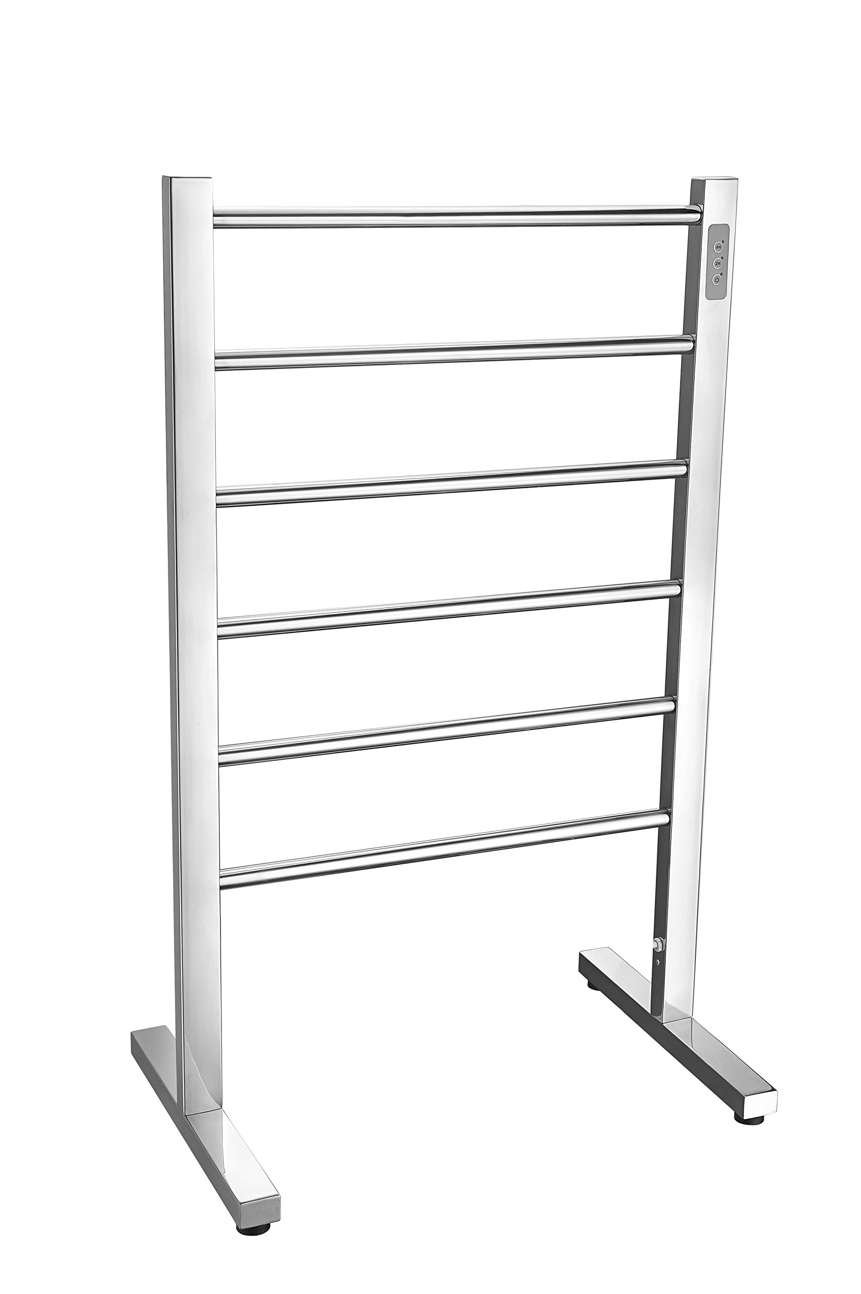 ANZZI Kiln 35 in x 22 in x 14 in Modern 6-Bar Floor Electric Towel Warmer in Polished Chrome | Stainless Steel 65W Timer Heater Tower Drying Rack for Bathrooms and Spa | TW-AZ068CH