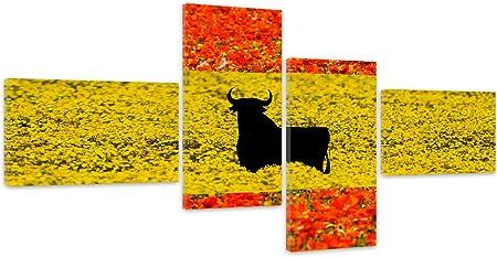 Feeby. Cuadro en lienzo - 4 partes - Cuadros decoración, Imagen impresa en lienzo, Canvas, Tipo Z, 130x70 cm, BANDERA, ESPAÑA, FLORES, ROJO, AMARILLO: Amazon.es: Hogar
