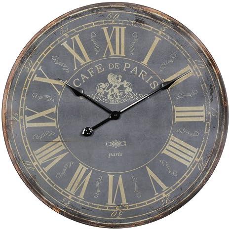 Decorazione Vintage Orologio da parete XXL Ø 60 cm Paris legno nero ...