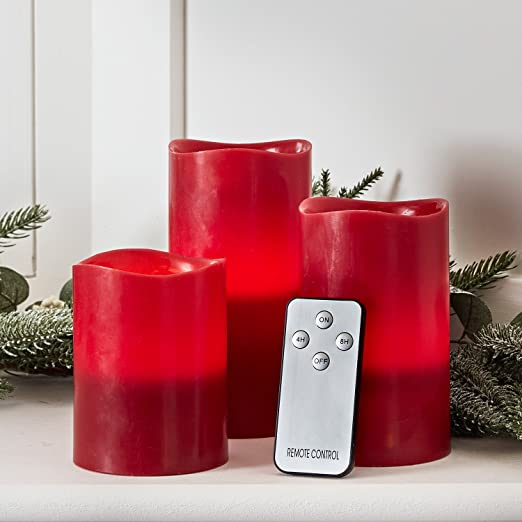 Inc Lights4fun Set of 3 Grey Wax Battery Operated Flameless LED Pillar Candles with Remote Control