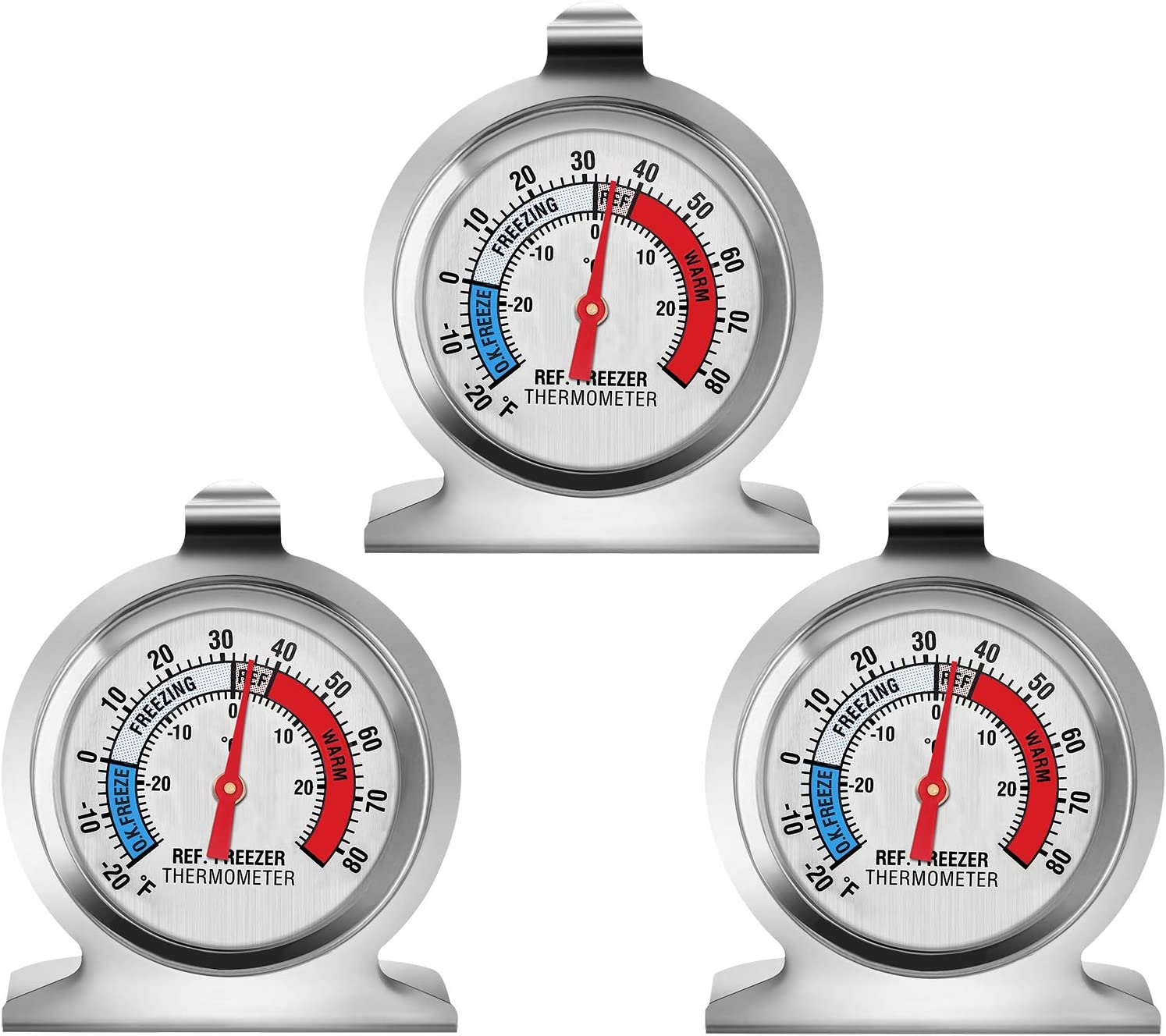 EEEKit Refrigerator Thermometer, Classic Series Large Dial Freezer Thermometer Temperature Thermometer for Refrigerator Freezer Fridge Cooler (3-Pack)