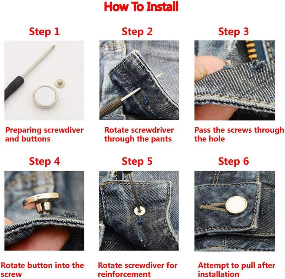 VALICLUD 10Pcs Kit de Reemplazo de Botones de Jeans Retro Redondo sin Coser Blazer de Metal Bot/ón de Tachuela Conjunto de Botones para Chaqueta de Abrigo