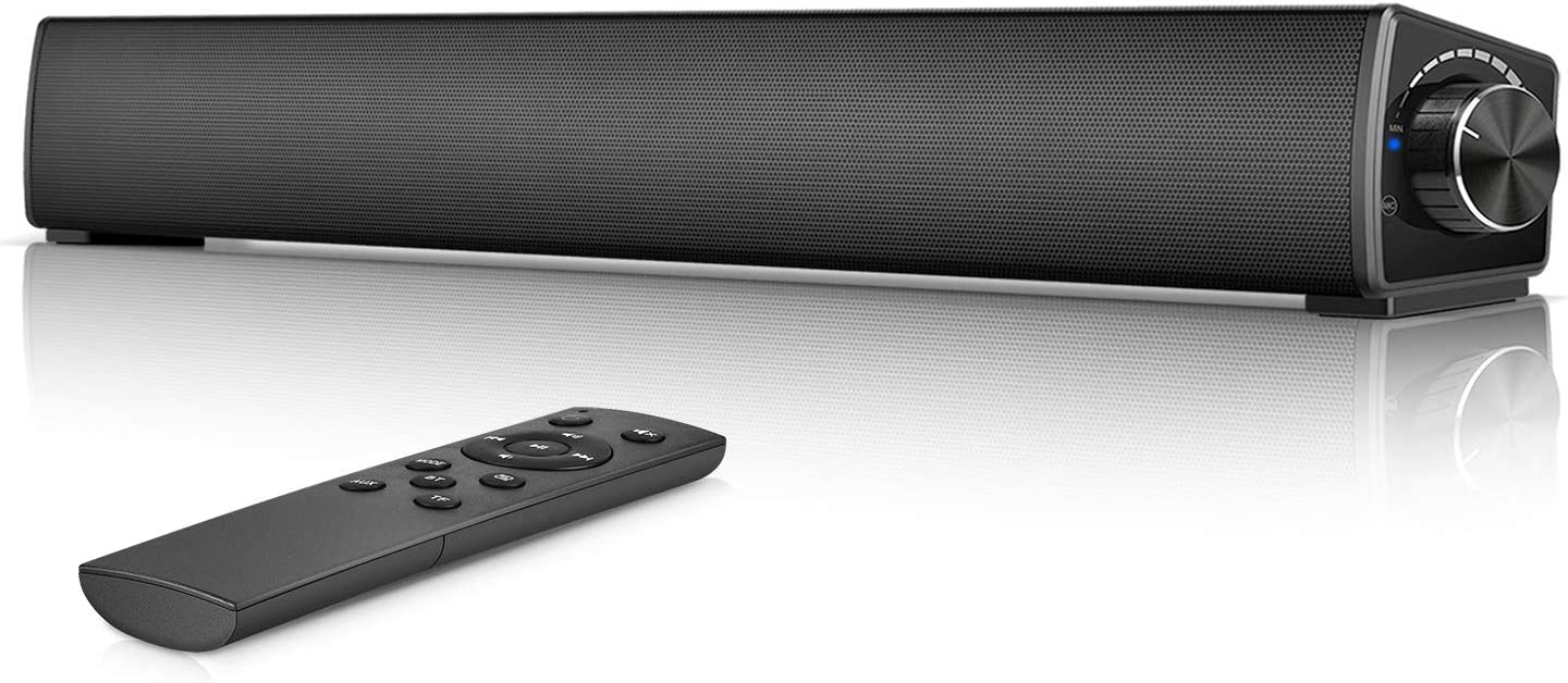 Computer Sound bar, Wired & Wireless Computer Speakers, Knob Control Stereo Desktop Speaker Monitor soundbar for Laptop/Smartphone/Tablets,[AUX,RCA,TF Card]