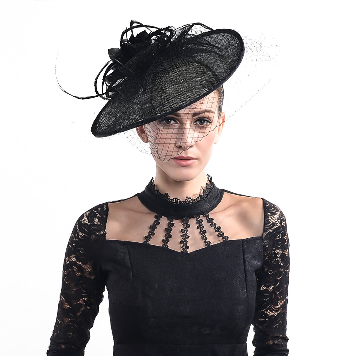 FORBUSITE Luxurious Sinamay Fascinators for Women Cocktail Hats Black by FORBUSITE