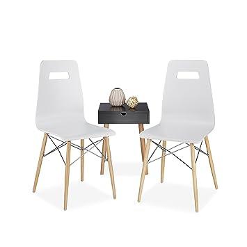 Relaxdays Design Stuhl 2 Er Set Arvid Holz Esszimmer Stuhl Modern
