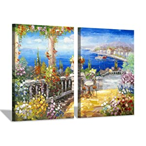 Hardy Gallery Italy Coastal Picture Wall Art: Abstract Mediterranean Coastal Painting Italian Garden Artwork for Kitchen (24'' x 18'' x 2 Panels)