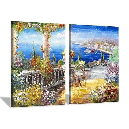 Hardy Gallery Italy Coastal Picture Wall Art Abstract Mediterranean Coastal Painting Italian Garden Artwork for Kitchen 24 x 18 x 2 Panels
