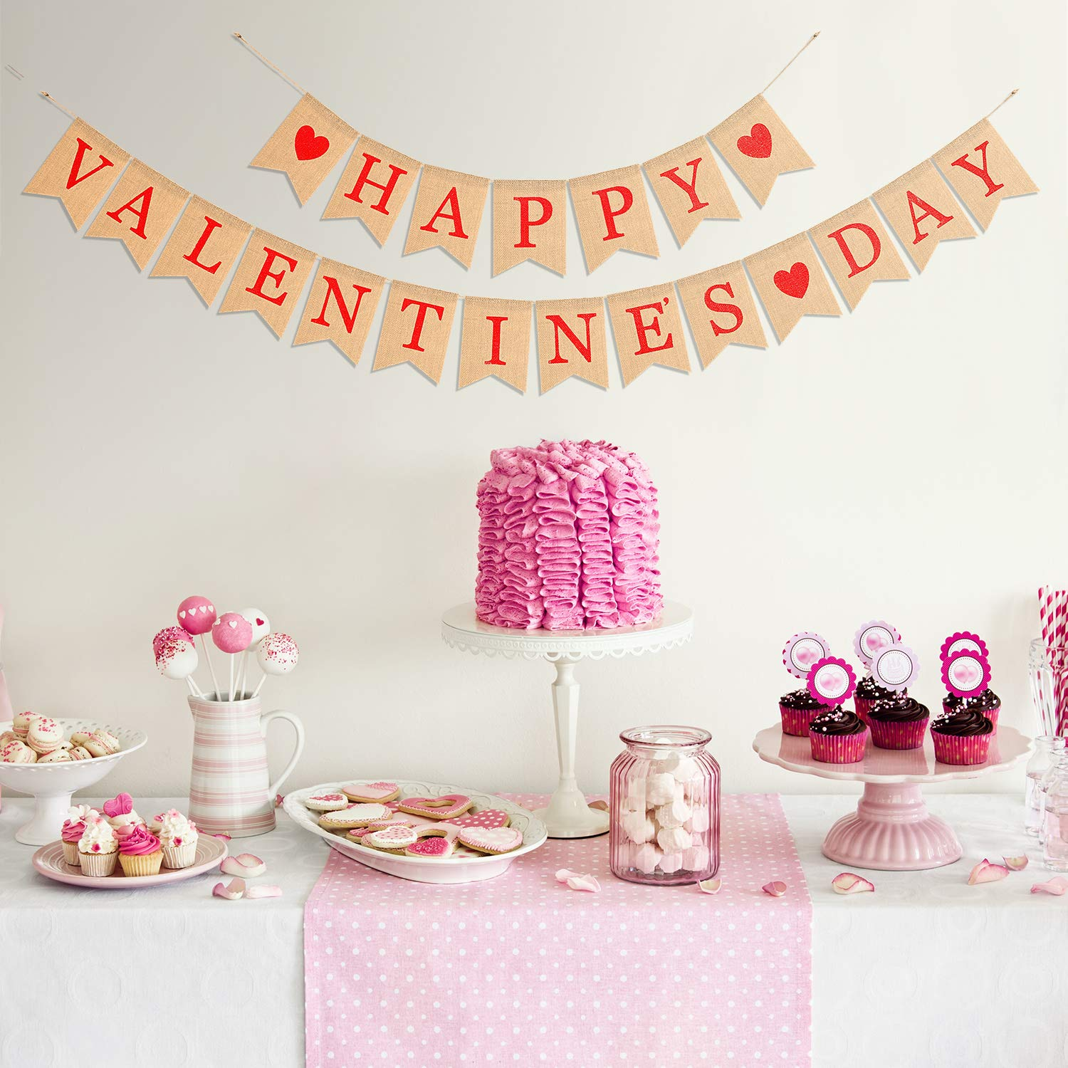 Boao Happy Valentines Day Banner Valentine Day Burlap Bunting Photo Props Valentine Day Heart Banner for Valentines Day Window and Door