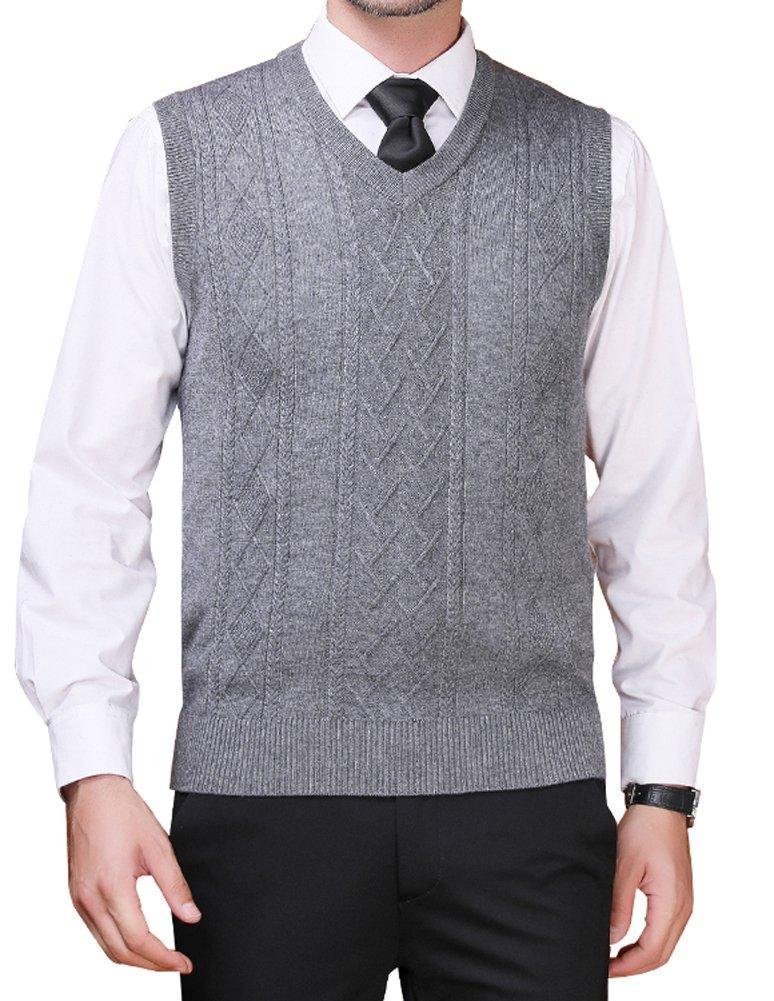Zicac Men's Argyle Sweater Vest V-Neck Sleeveless Waistcoat Business Knitwear (S, Gray)