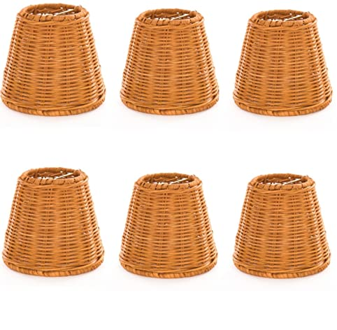 Upgradelights set of 6 wicker chandelier lamp shade 5 inch bell upgradelights set of 6 wicker chandelier lamp shade 5 inch bell clips onto bulb mozeypictures Choice Image