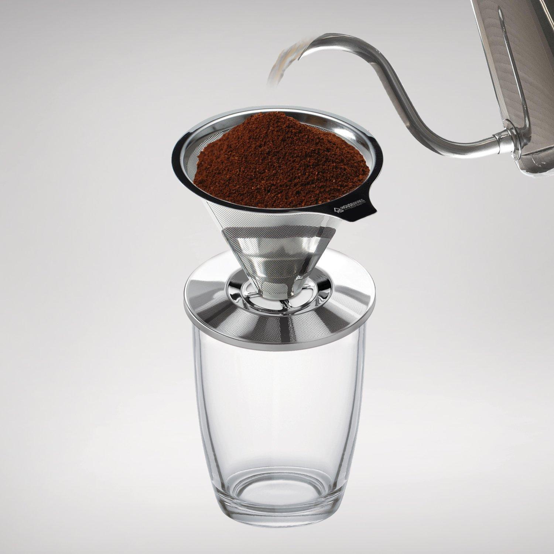 Edelstahl über Kaffee Gießen Tropfer von Housewares Lösungen + Bonus Kaffee Schaufel mit Built in Tasche Clip