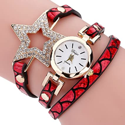 c731c296f0d87 Image Unavailable. Image not available for. Color  Mosunx Women Watches  (TM) Fashion New Girl Watches Charm Wrap ...