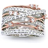 Sparkly Bride CZ Statement Ring Crossover Two-tone Rose Gold Plated Wide Band Women Fashion