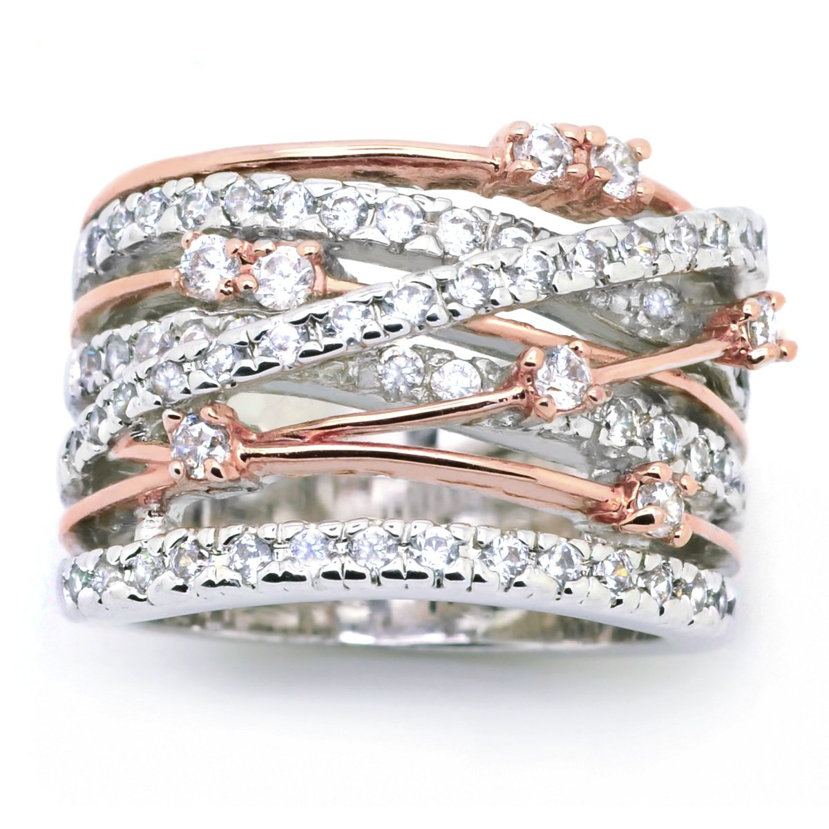 Sparkly Bride CZ Statement Ring Crossover Two-tone Rose Gold Plated Wide Band Women Fashion size 8