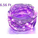 BINZET 6.56Ft LED String Lights Purple Color 20LED Battery Operated Copper Wire Fairy Lights Safe Lighting Decorative for Wedding Party Home Garden Trees and Christmas