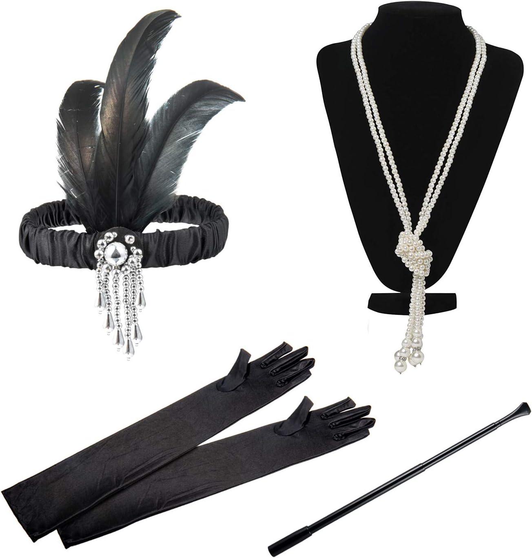 Czemo 1920s Set de Accesorios de Flapper de los años 20 Fiesta Disfraz Gran Gatsby Diadema, Collar, Guantes, Canastilla de Cigarro