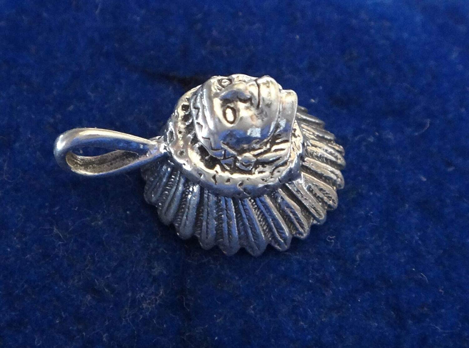 Fine Charms 1 Sterling Silver 3D 18x11mm Indian Chief with Headdress Hollow Back
