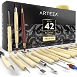 Arteza Pottery & Polymer Clay Tools, 42-Piece Sculpting Set, Steel Tip Tools with Wooden Handles, for Pottery Modeling, Smoot