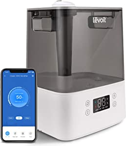 LEVOIT Cool Mist Humidifiers for Bedroom, 6L Smart Top Fill Ultrasonic Air Vaporizer for Large Room, Home, Baby [BPA Free], Essential Oil Diffuser, Filterless, Work with Alexa & VeSync APP, White