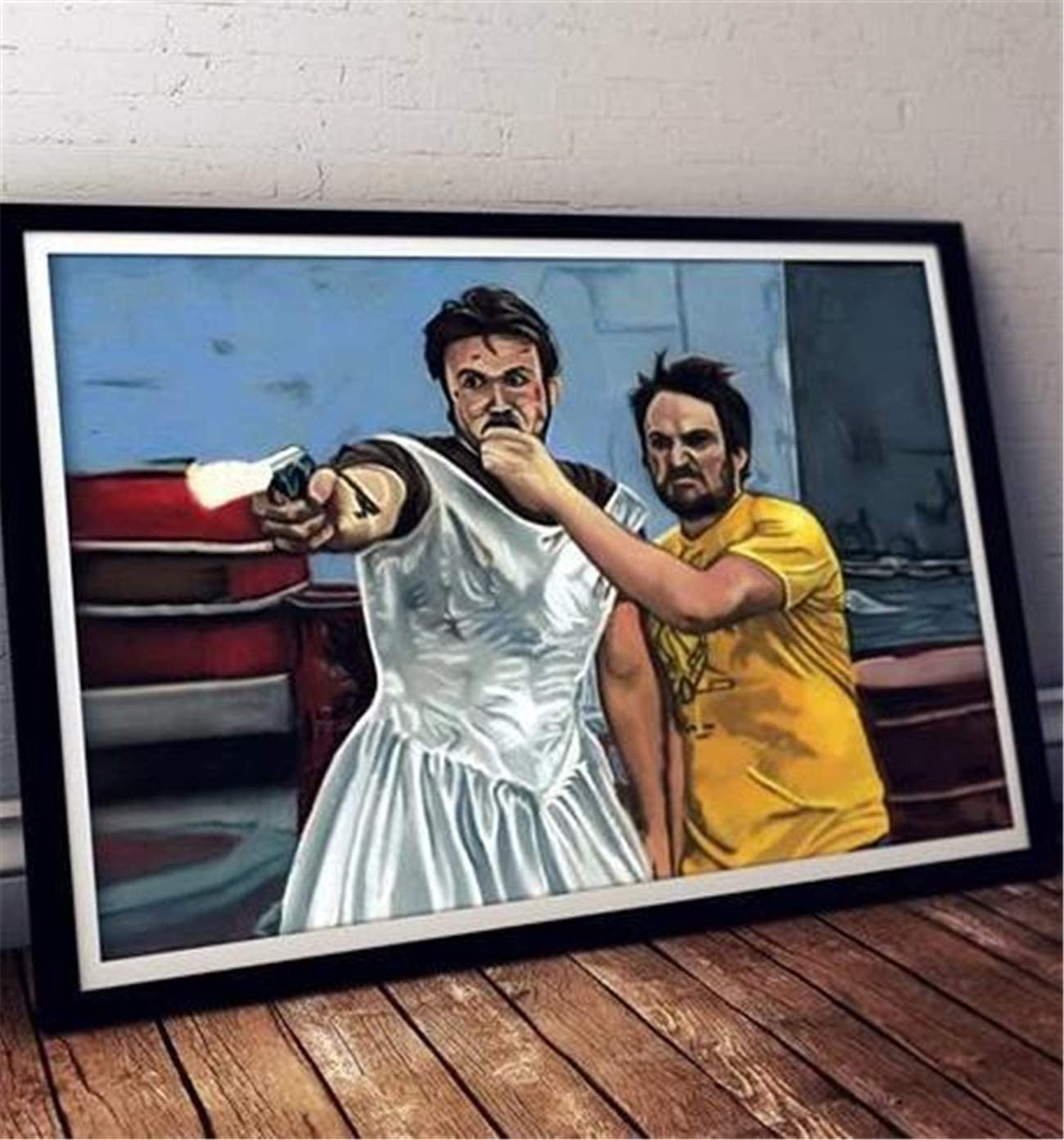 Canvas Poster Its Always Sunny in Philadelphia Dennis in Dress Gun Fighting Wall Decor Canvas Art Prints Painting Picture Artwork Home Decoration for Living Room Bedroom No Frame