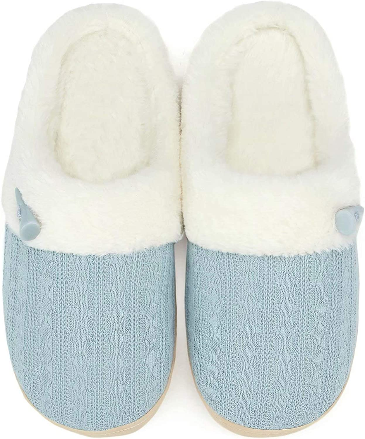 NineCiFun Women's Slip on Fuzzy Slippers Memory Foam House Slippers Outdoor Indoor Warm Plush Bedroom Shoes Scuff with Fur Lining