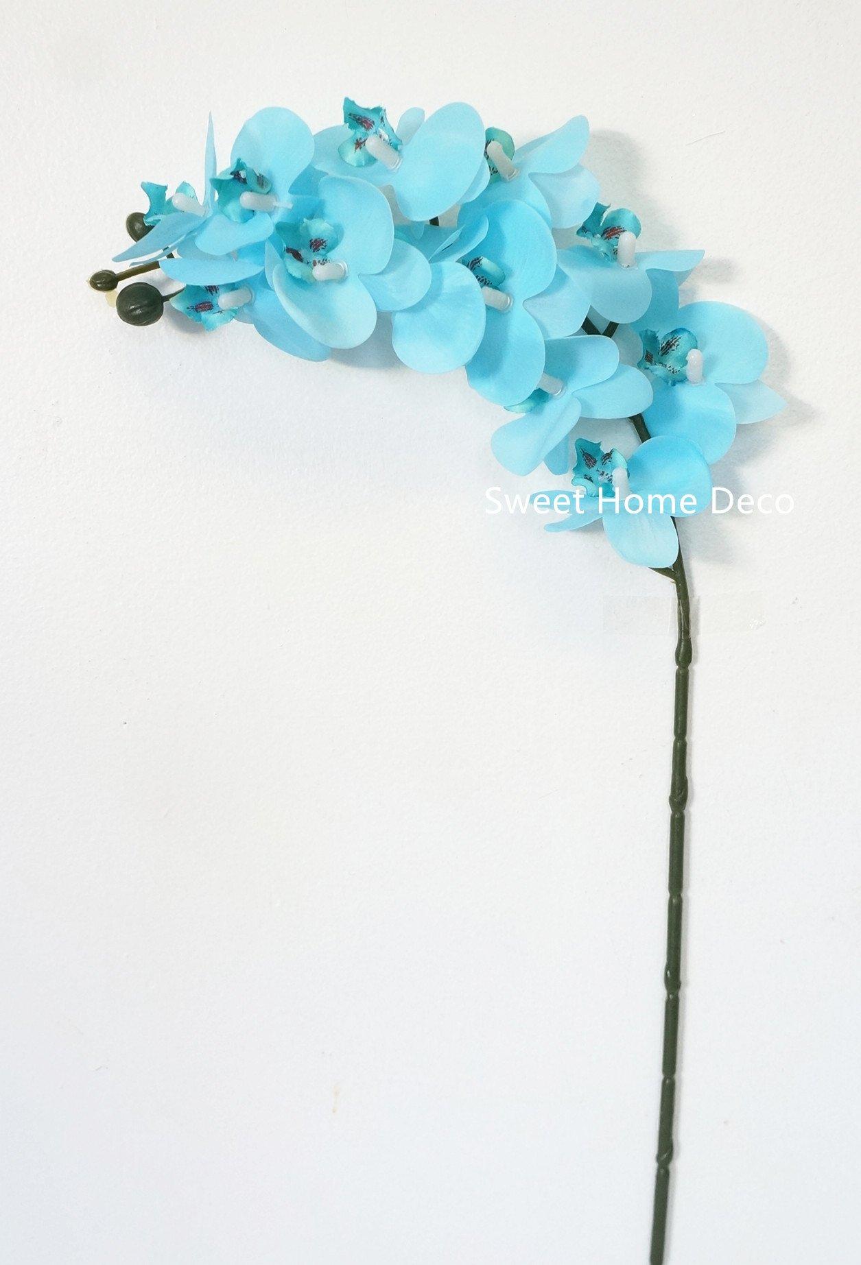 silk flower arrangements sweet home deco 23'' mini latex real touch phanaenopsis orchid spray (12 flower heads) (2, light blue)