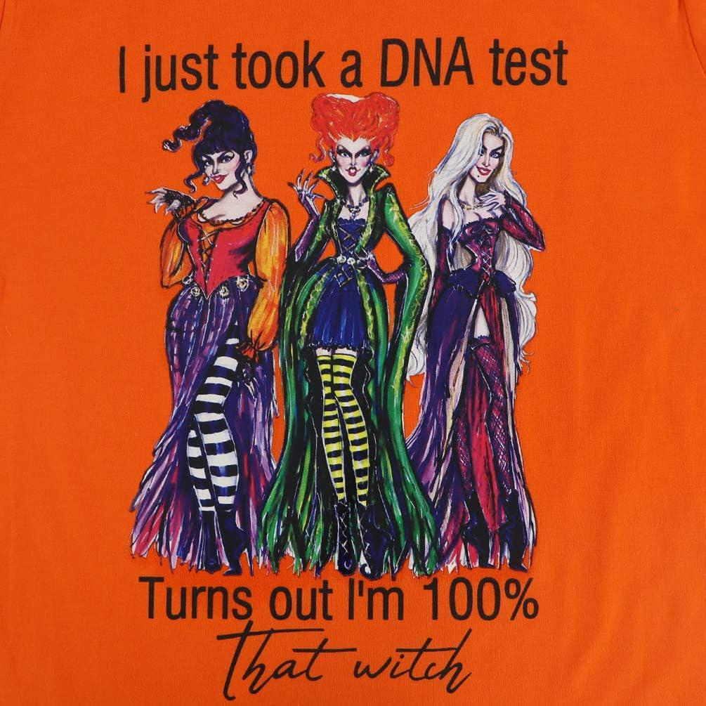 GEMLON I Just Took a DNA Test T-Shirt Women Halloween Sanderson Sisters Retro Vintage Graphic Tee