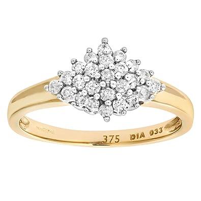Naava Women's 9 ct Yellow Gold Diamond Cluster Ring FmKrqihk