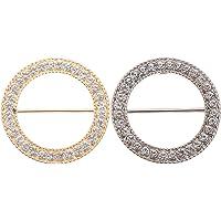 SOIMISS 2 Stuks T- Shirt Clips Strass Sjaal Clip Ring Elegante Sjaals Taille Gesp Kleding Ring Wrap Houder Mode…
