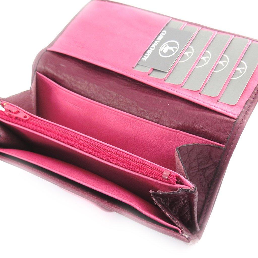 Large leather wallet Frandi pink purple.