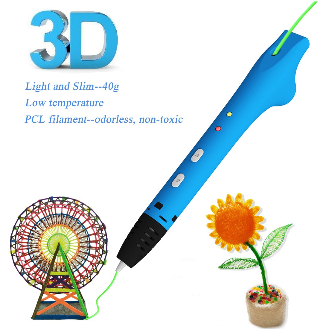 GOOAnn New Upgraded 3D Pen, 3D Printing Pen Compatible with 1.75mm Low Temperature PCL filament, 3D Doodle Drawing Pen, No Clog, 3D Art Crafts DIY or Education Creation Printer Pen for Kids (Blue)